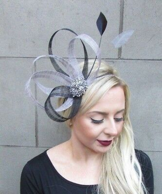 Black Grey Silver Sinamay Feather Fascinator Races Alice Hair Band Headband 4827