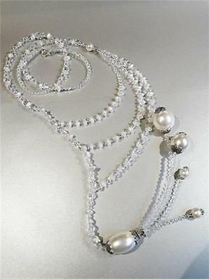 Dramatic Crystal & Pearl Asymmetrical Necklace - Gift Box - Free P&P...w2019