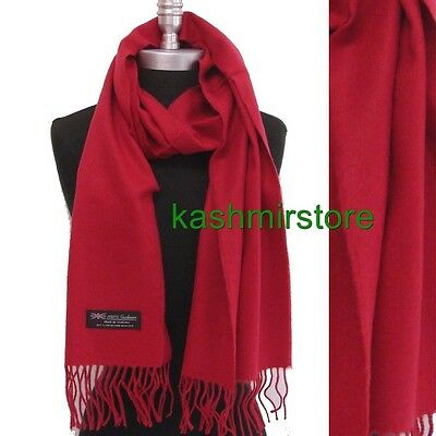 New Women's 100% CASHMERE SCARF MADE IN SCOTLAND SOLID Cranberry SUPER SOFT