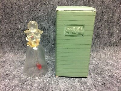 1991 Avon Fine Collectibles Love Crystal Bell New Old Stock In Box Cupid w/Heart
