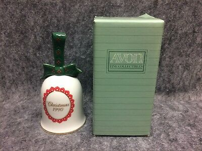 1990 Avon Fine Collectibles Porcelain Christmas Bell Waiting For Santa NOS w/Box