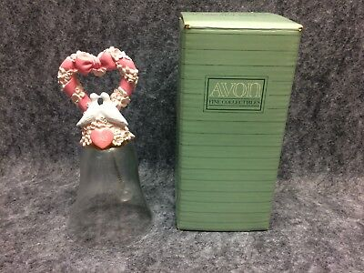 1992 Avon Fine Collectibles Hearts And Flowers Crystal Bell New Old Stock In Box