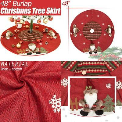 Christmas Tree Skirt By Yoland 48'' Burlap Plaid Red Cotton Ornaments Decoration