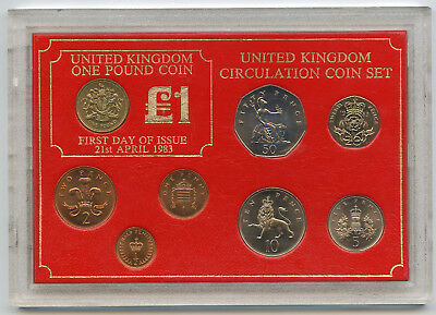 United Kingdom 1983 Circulation Coin Set - First Day of Issue UK Britain - AP105
