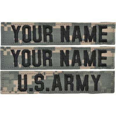 3 Piece Custom Name Tape Set w/ Hook Fastener Backing - ACU