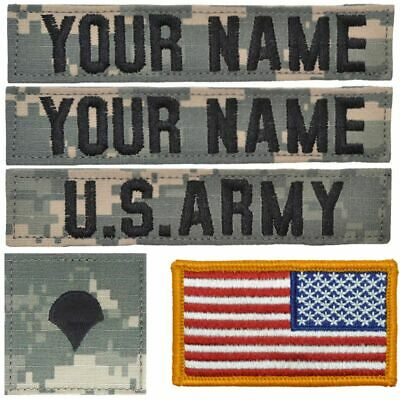Custom 5 Piece Name Tape Set w/ Hook Fastener Backing - ACU