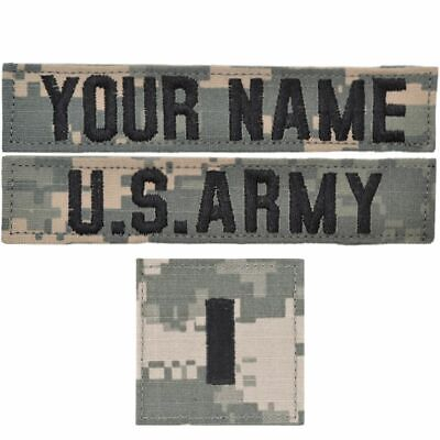 Custom 3 Piece Name Tape Set includes Rank w/ Hook Fastener Backing - ACU