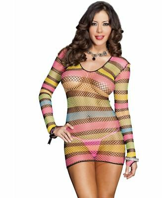 c0cff9e60a1 CUPLESS STRIPED FISHNET Chemise - Music Legs 6736 -  14.16