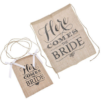 Here Comes The Bride Flags Hanging Decoration Banner Wedding Party Venue Supply