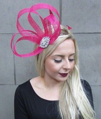 Cerise Hot Pink Silver Sinamay Feather Fascinator Races Alice Band Headband 4839
