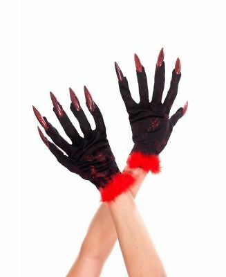 Devil Gloves With Nails And Fur Trim - Music Legs 455