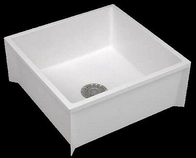 MOP SINK SERVICE BASIN Single Bowl White Floor Mount Center Drain 24 x 24 x 10in