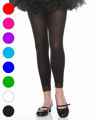 Girls Opaque Leggings With Lace Trim - Music Legs 275