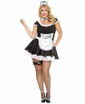 Plus Size Lace Trimmed French Maid Costume - Music Legs 70133Q
