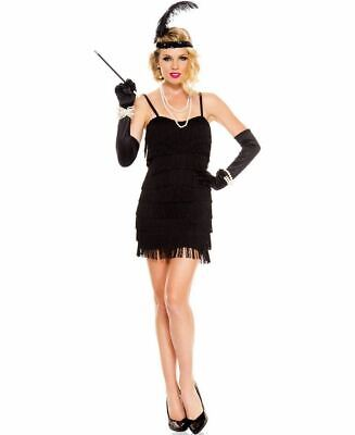 1920's Stunning Black Flapper Costume - Music Legs 70590-B