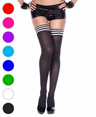 Opaque Thigh High Stockings With Striped Top - Music Legs 4749