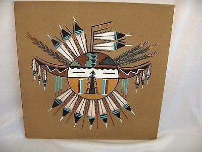 Art Sand Painting Walking Thunder Navajo Medicine Woman Sunburst Courage Signed