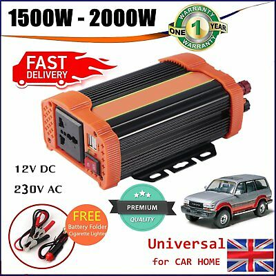 Solar Power Inverter 1500W 2000W 12V DC To 230V AC Modified Sine Wave Converter