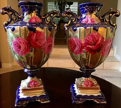 PR. 19thC. ANTIQUE ENGLISH PORCELAIN URN VASES, HAND-DECORATED,COBALT BLUE,GILT