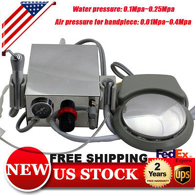 Portable Dental Turbine Unit Work Air Compressor 3 way Syringe Handpiece 4 Hole
