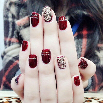 24 Pcs Wine Red Glitter Powder Short Fake Nails Full Cover Nail Art False Nails
