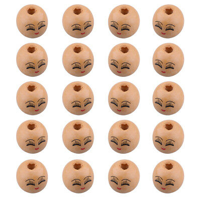 20pcs Wooden Round Painted Smile Face & Eyebrows Loose Craft Beads 18mm 4mm Hole
