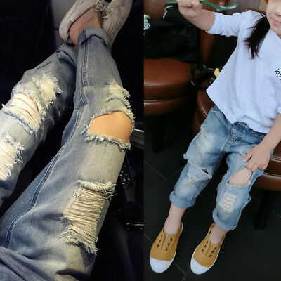 Kid Boys Girls Ripped Jeans Children Broken Hole Pants Denim Trousers Outfits