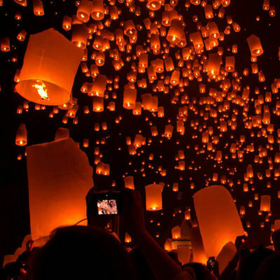 Sky Flying Chinese Paper Wishing Lamp Lanterns Lucky Light For Wedding Party