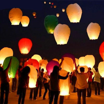 Colorful Wishing Lanterns Chinese Paper Sky Flying Floating Party Wedding Lamp