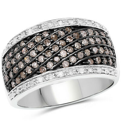 Wedding Band 0.87 Ct Genuine Champagne & White Diamond 925 Sterling Silver Ring