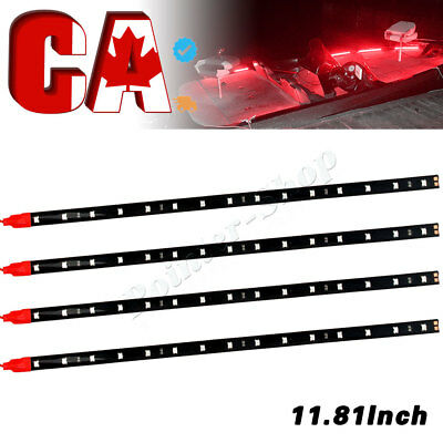 4x New 30cm /15 LED Car Truck Motorcycle Flexible Strip Light 12V Waterproof Red