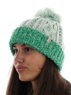Brunotti Beanie Knitted Cap PomPom Hat Green Derby Fleece Chunky Knitted