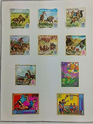 Equatorial Guinea, Wild West, Sports Album Page Of Stamps #V5877