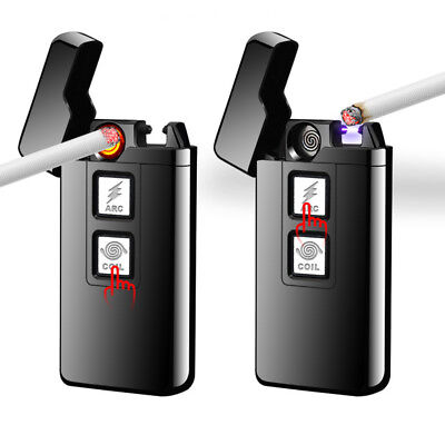 USB Electric Rechargeable Lighter Cigarette Coil&Arc Plasma Windproof Flameless