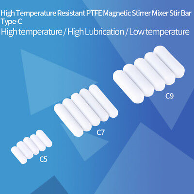5pc Type-C White Color PTFE Stir Bar Stirrer Flea Lab Spinner for Magnetic Mixer