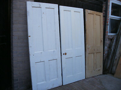 Reclaimed Edwardian 4 panel pine doors.  (6 available)