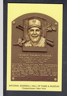 Tom Seaver 1992 Yellow Hall of Fame Plaque Postcard from Induction Gehrig Stamp
