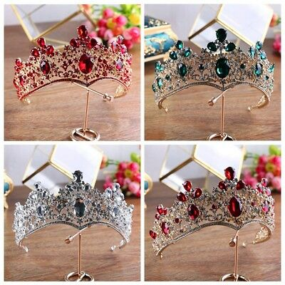 8cm High Luxury Crystal Wedding Party Pageant Prom Tiara Crown - 4 Colors