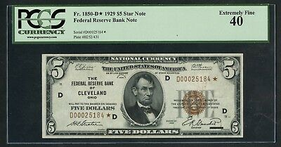 Fr1850-D* $5 1929 Frbn Star Note Pcgs 40 Xf (Only 18 Known) 3Rd Finest Wlm4917