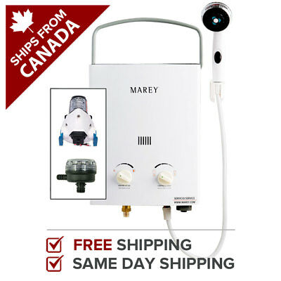 Marey Portable 5L Gas Tankless Water Heater Bundle (w/ 12V pump & strainer)