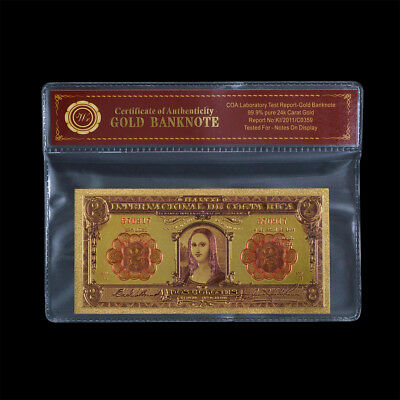 WR 1932 $2 Costa Rica 2 Colones Note 24K GOLD Foil Colored Banknotes In COA PACK