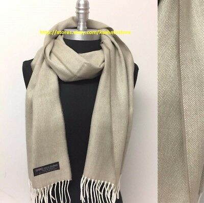 Men's 100% CASHMERE SCARF MADE IN SCOTLAND Herring Bone Tweed SOFT Beige/White