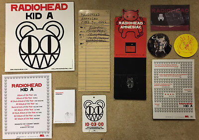 Radiohead Kid A I Might Be Wrong Amnesiac set promo poster displays stickers