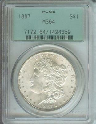 1887 (1887-P) Morgan Silver Dollar S$1 Pcgs Ms64 Old Green Holder Ogh  O.g.h.