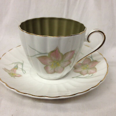 Susie Cooper England White & Olive Green Cup & Saucer 6 Oz Pink Flowers