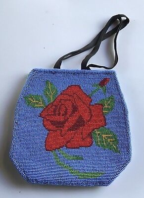 Vintage Plateau Indian Beaded Buckskin Rose Flower Motif Bag