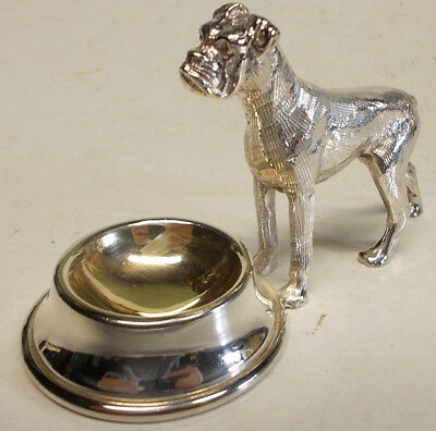 Dog by Bowl Figural Open Salt - Silverplate celler dish -BOXER