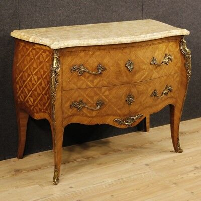Dresser inlaid furniture chest of drawers marble wood antique style Louis XV 900