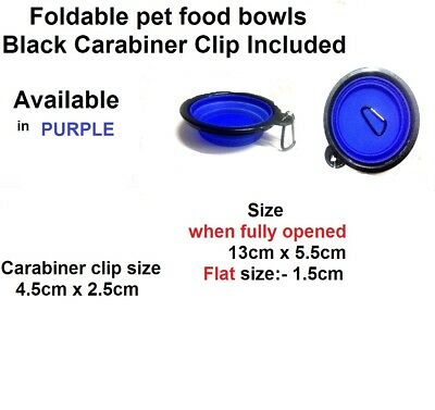 Silicone Foldable Dog Cat Feeding Travel collapsible WaterFeeder Purple Pet Bowl
