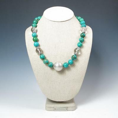 OOAK! Lrg Sterling Silver Bead African Turquoise Rock Crystal Statement Necklace